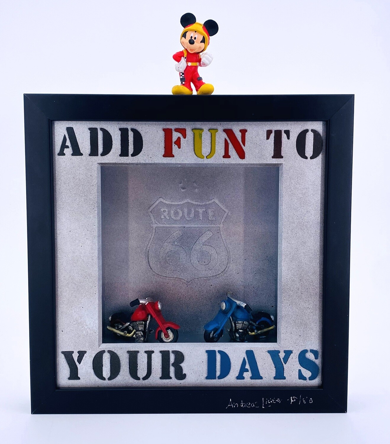 """Andreas Lichter """"Add fun to you days"""" Micky Mouse gerahmt"""