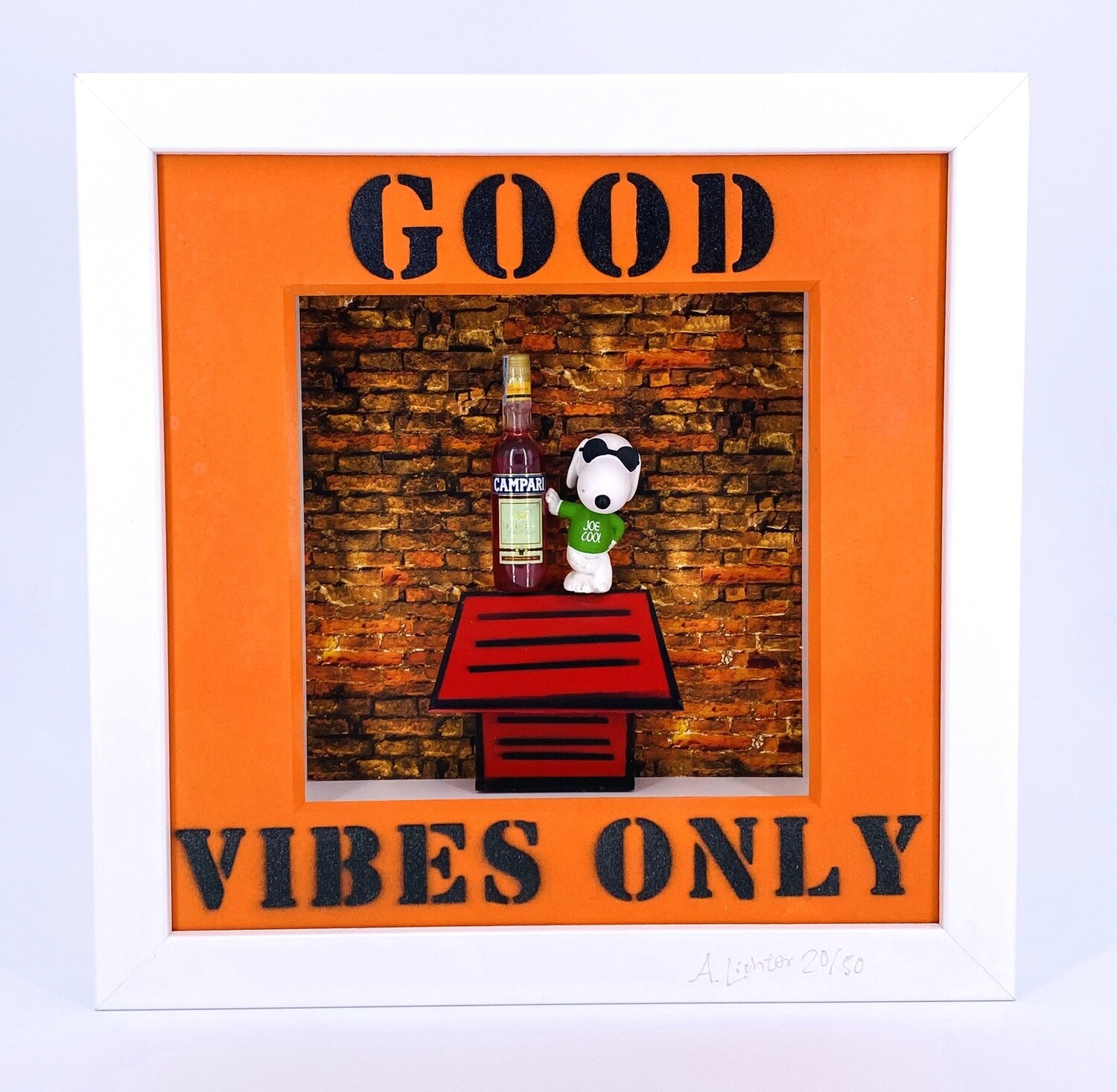 """Andreas Lichter """"Good Vibes only"""" Snoopy gerahmt"""