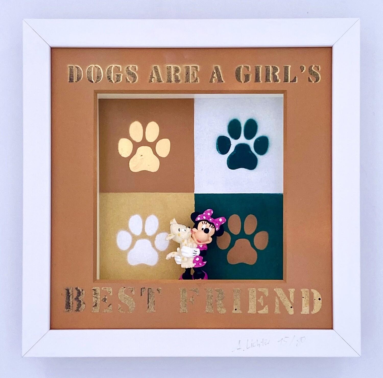 """Andreas Lichter """"Girls best friend Gold"""" Minnie Maus gerahmt"""