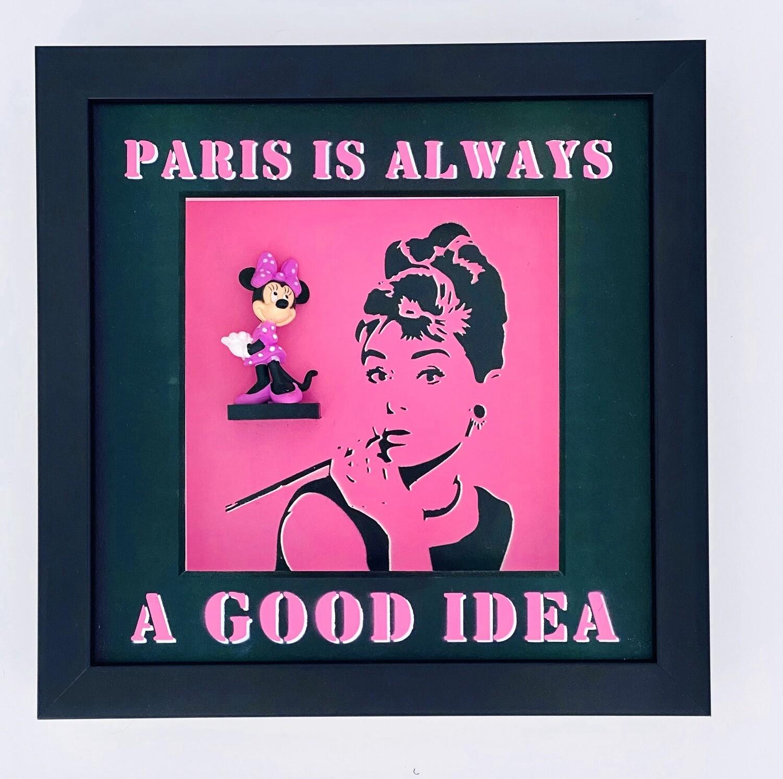 """Andreas Lichter """"Paris is always a good idea"""" Minnie Maus gerahmt"""