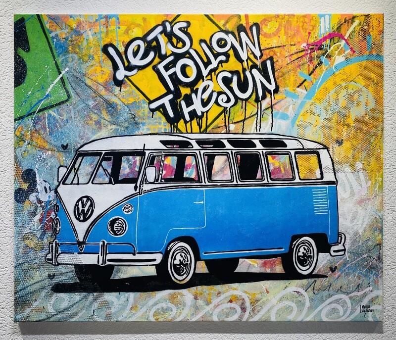 "Original Gemälde Marco Valentini ""VW Hippie Bus"""