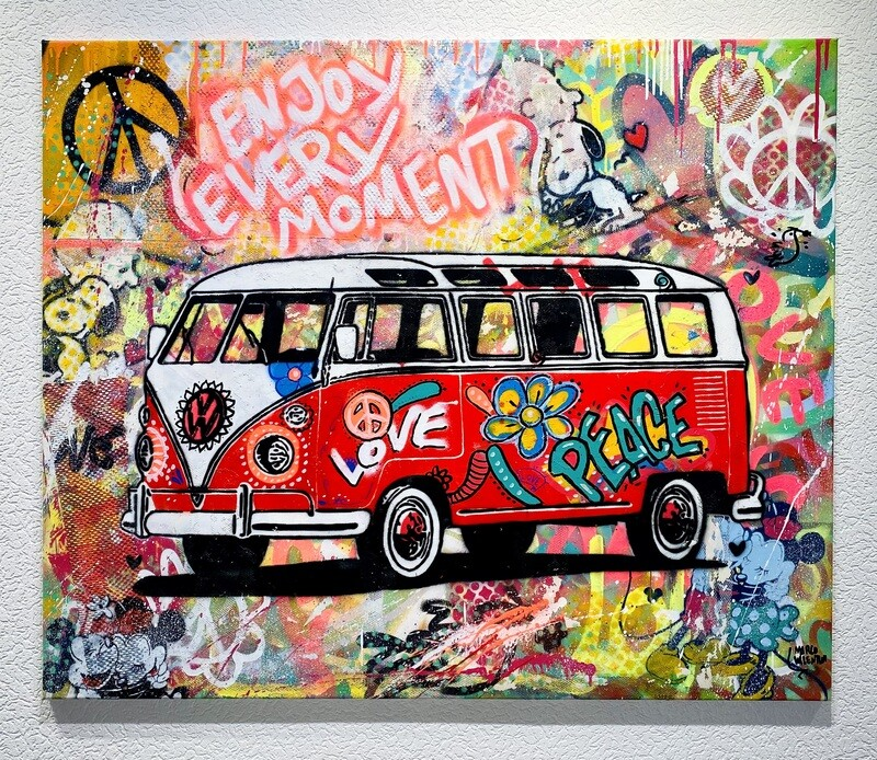 "Original Gemälde Marco Valentini ""VW Hippie Bus red"""