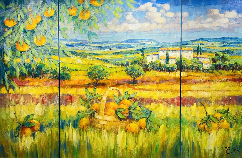 "Jean-Claude Picard Triptychon ""Das Tal im Spiel des Lichtes"""