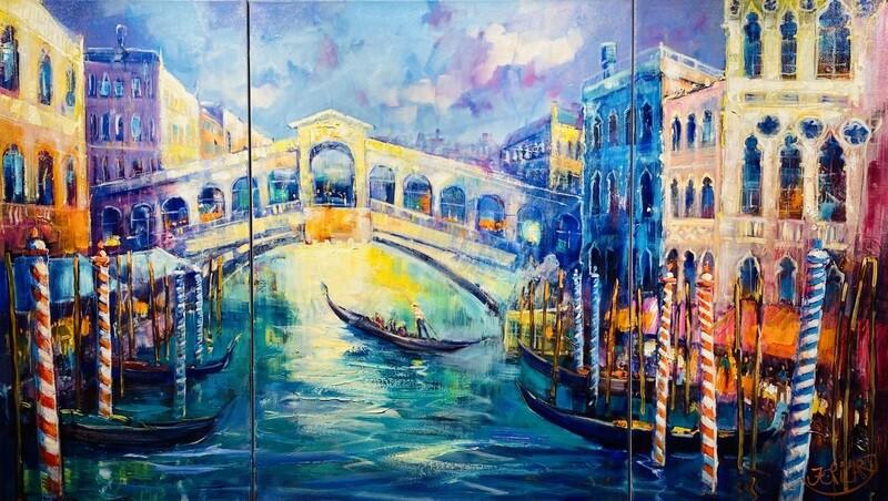"Jean-Claude Picard Triptychon""Venedig im Sommer"""