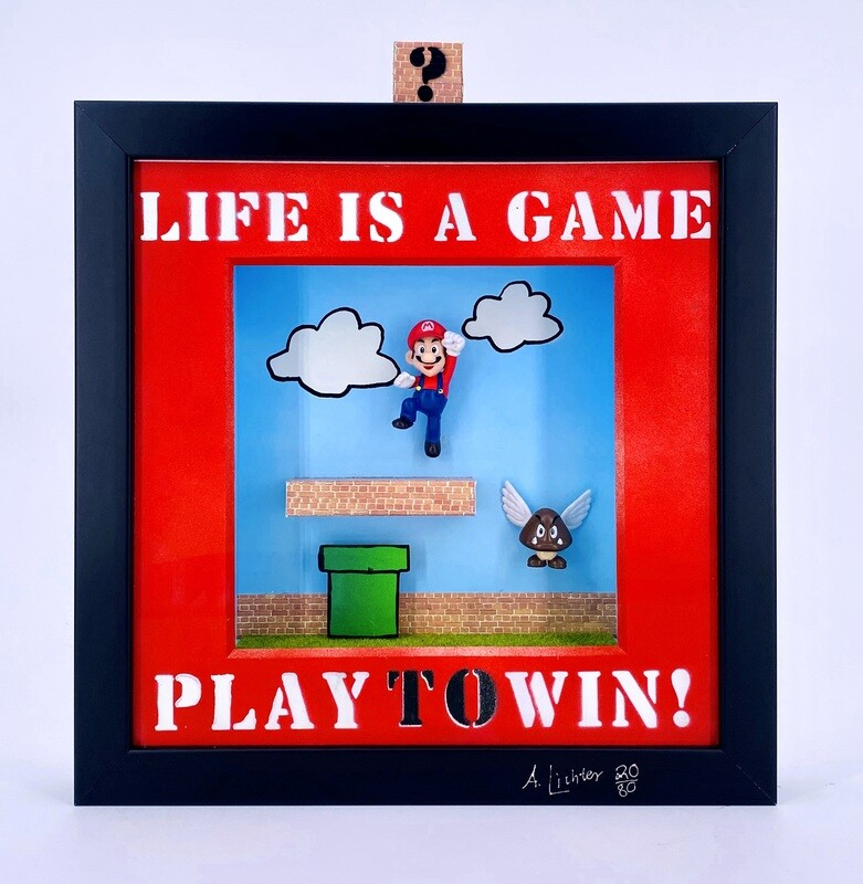 """Andreas Lichter """"Life is a game, play to win"""" Super Mario gerahmt"""