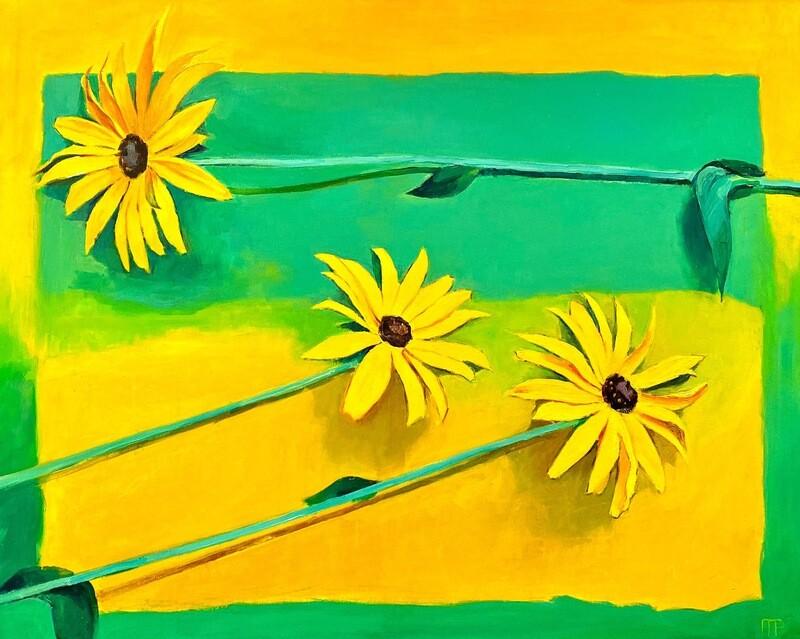 """Ewgenij Ryman """"Blumen in Gelb und Grün"""""""