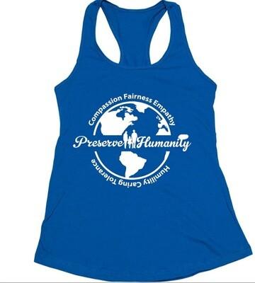 Preserve Humanity Women's Racerback Tank (Royal)