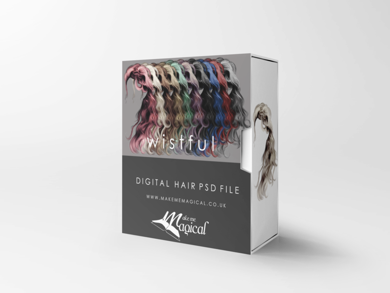 Wistful digital painted photoshop instant hair overlay psd multiple colours by makememagical