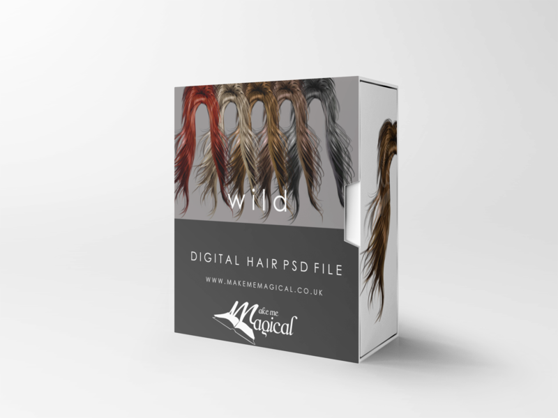 Wild digital painted photoshop instant hair overlay psd multiple colours by makememagical