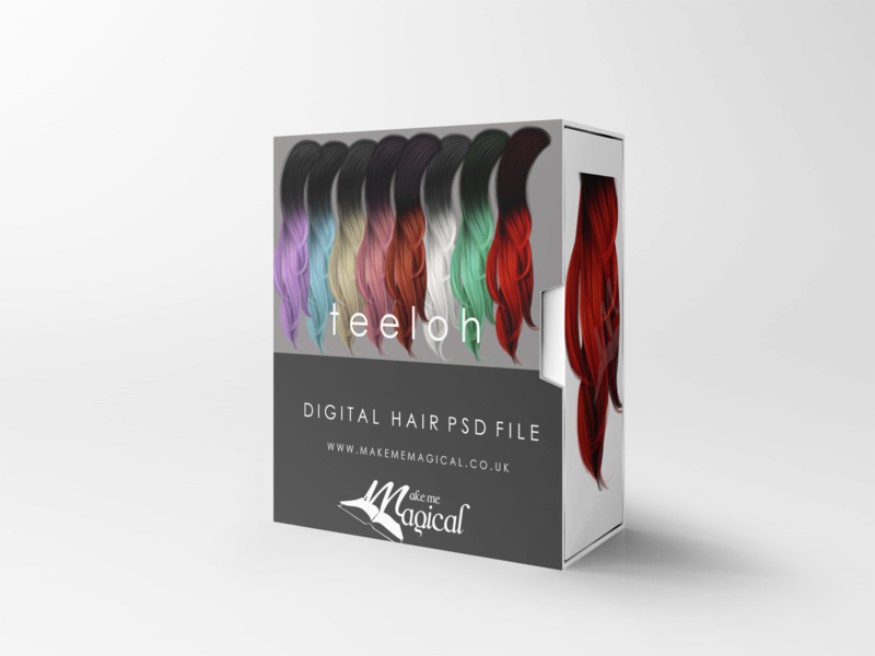 Teeloh digital painted photoshop instant hair overlay psd multiple colours by makememagical
