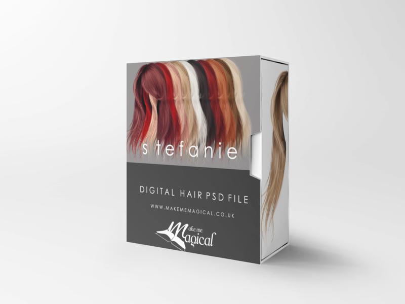Stefanie digital painted photoshop instant hair overlay psd multiple colours by makememagical