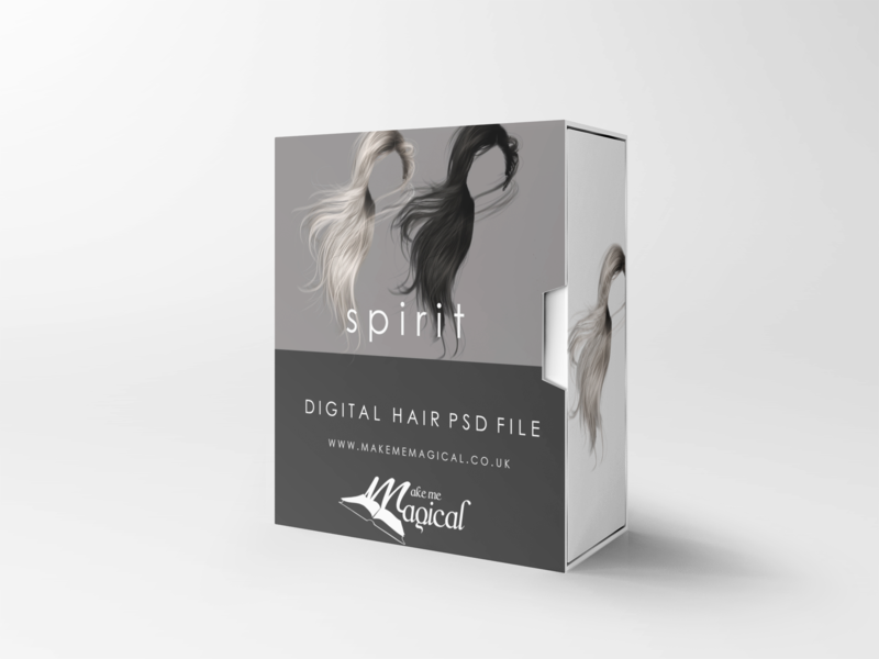 Spirit digital painted photoshop instant hair overlay psd multiple colours by makememagical