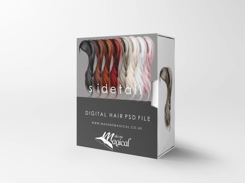 Sidetail digital painted photoshop instant hair overlay psd multiple colours by makememagical
