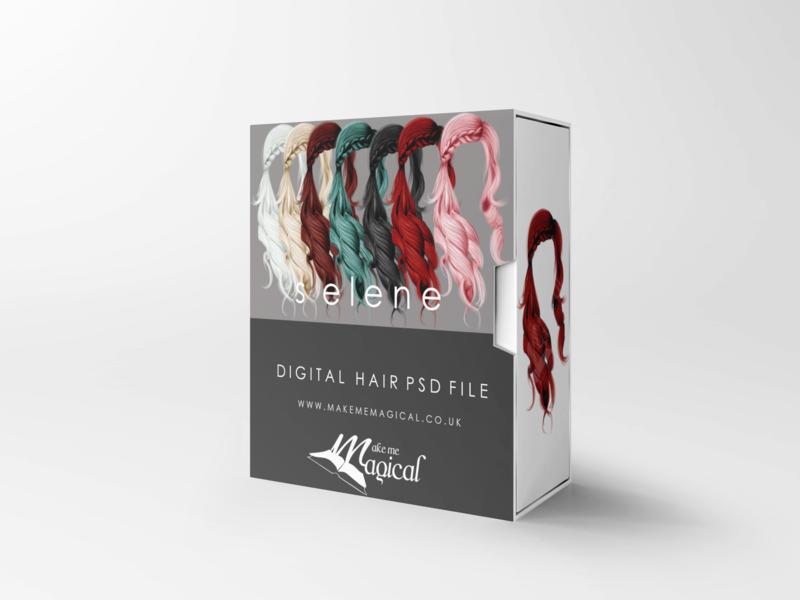 Selene digital painted photoshop instant hair overlay psd multiple colours by makememagical