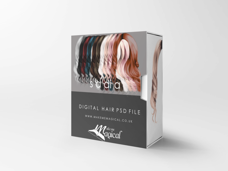 Sadia digital painted photoshop instant hair overlay psd multiple colours by makememagical
