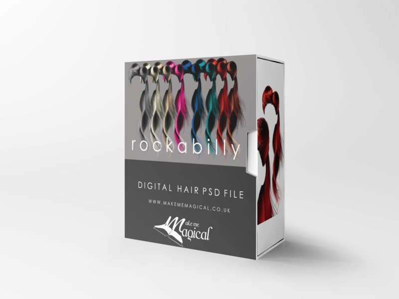 Rockabilly digital painted photoshop instant hair overlay psd multiple colours by makememagical