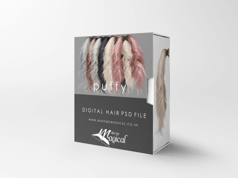 Puffy digital painted photoshop instant hair overlay psd multiple colours by makememagical
