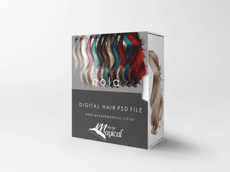 Nica digital painted photoshop instant hair overlay psd multiple colours by makememagical