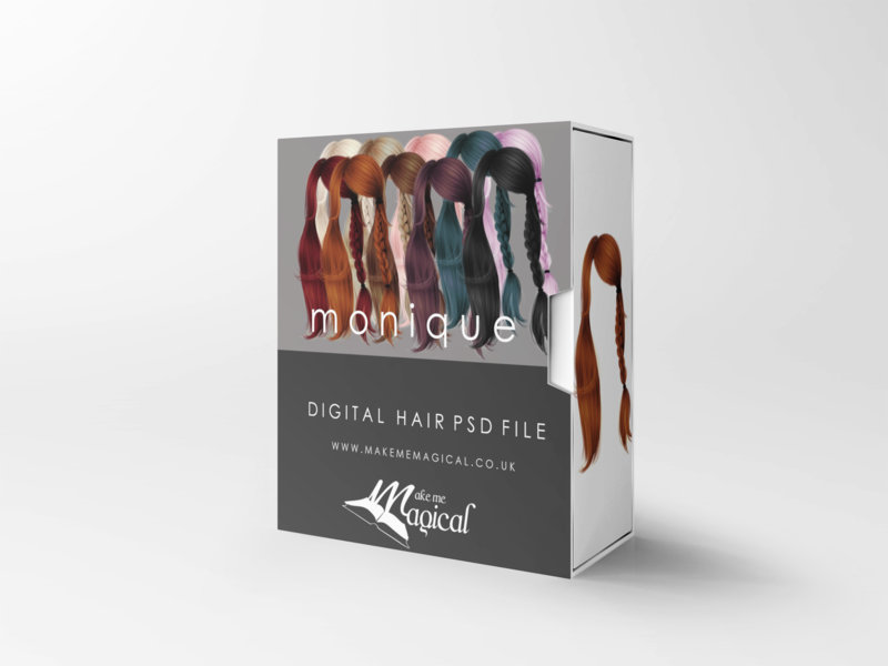 Monique digital painted photoshop instant hair overlay psd multiple colours by makememagical