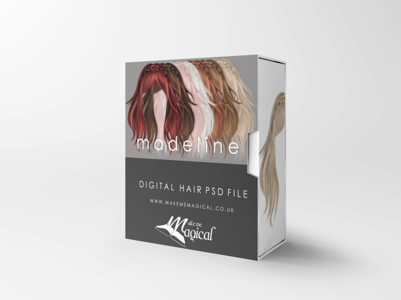 Madeline digital painted photoshop instant hair overlay psd multiple colours by makememagical