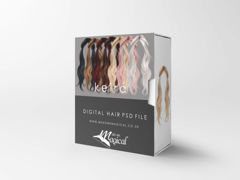 Keira digital painted photoshop instant hair overlay psd multiple colours by makememagical