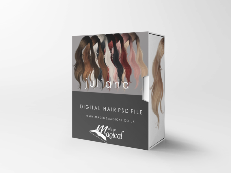 Juliana digital painted photoshop instant hair overlay psd multiple colours by makememagical
