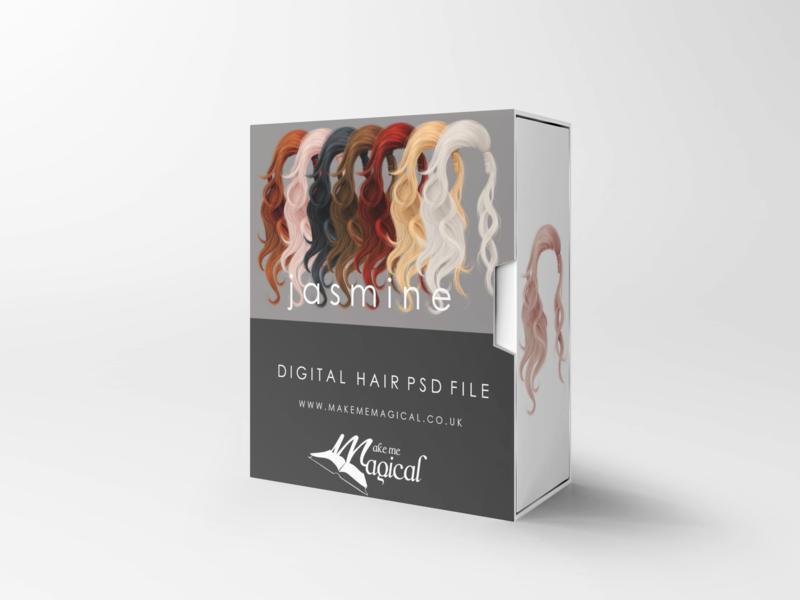 Jasmine digital painted photoshop instant hair overlay psd multiple colours by makememagical