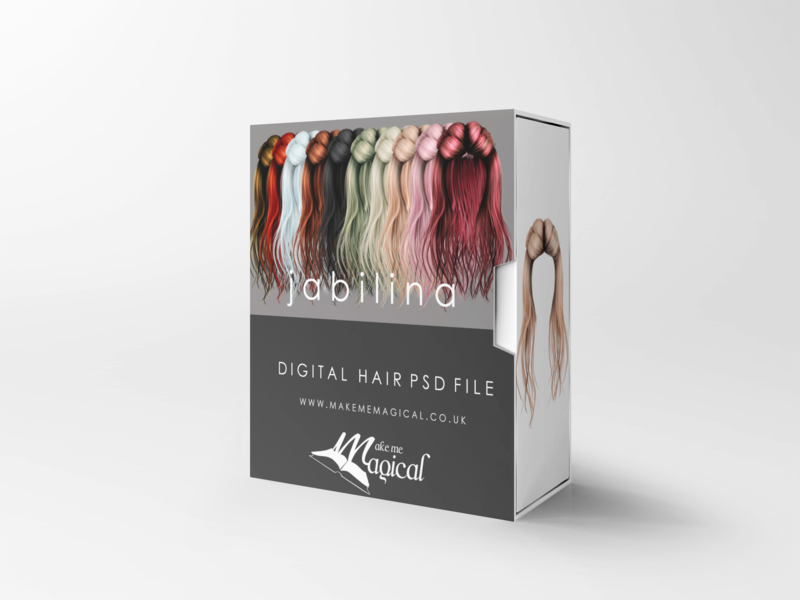 Jabilina digital painted photoshop instant hair overlay psd multiple colours by makememagical