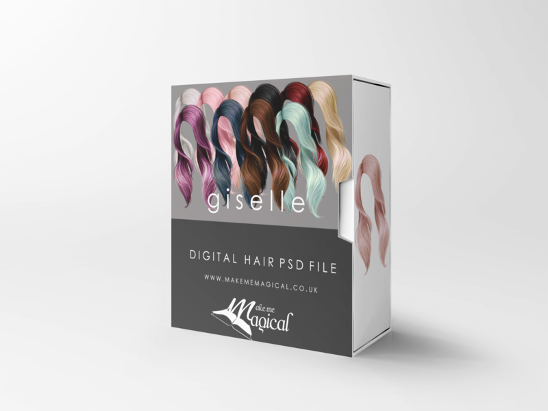 Giselle digital painted photoshop instant hair overlay psd multiple colours by makememagical