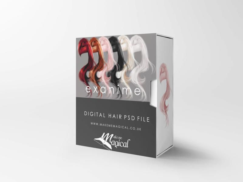 Exanime digital painted photoshop instant hair overlay psd multiple colours by makememagical