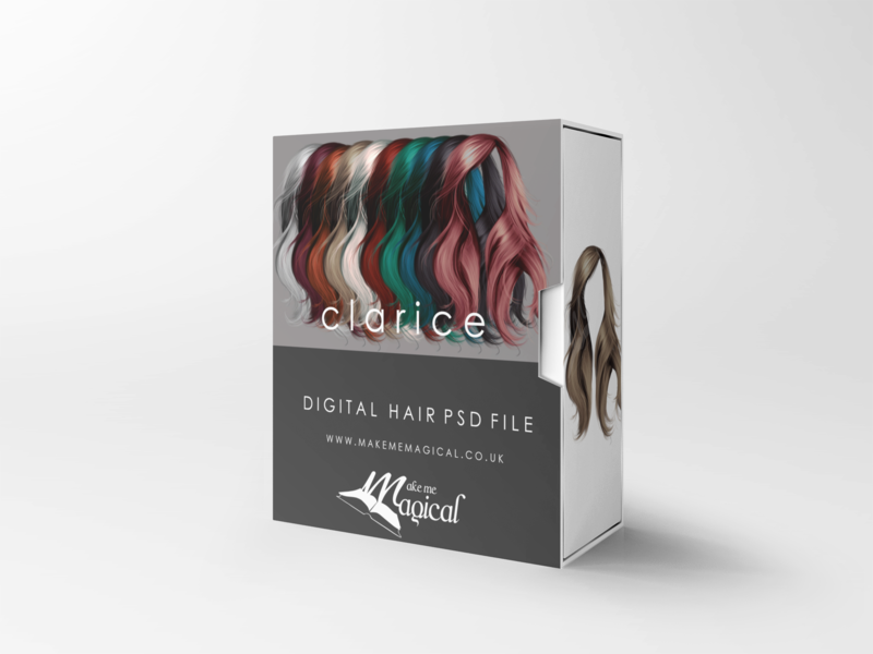 Clarice digital painted photoshop instant hair overlay psd multiple colours by makememagical