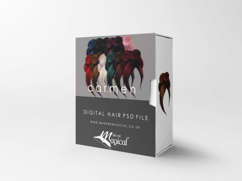 Carmen digital painted photoshop instant hair overlay psd multiple colours by makememagical
