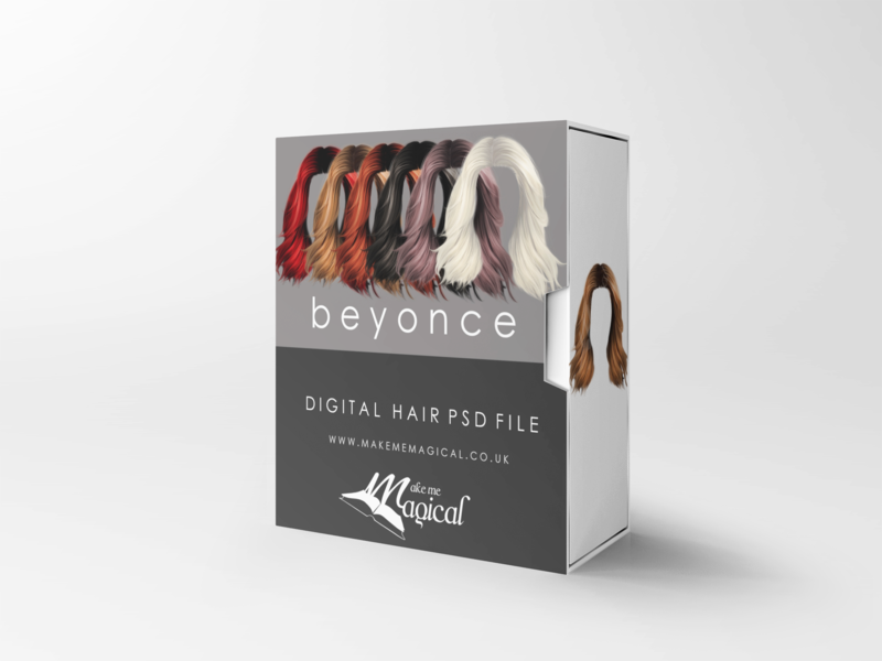 Beyonce digital painted photoshop instant hair overlay psd multiple colours by makememagical
