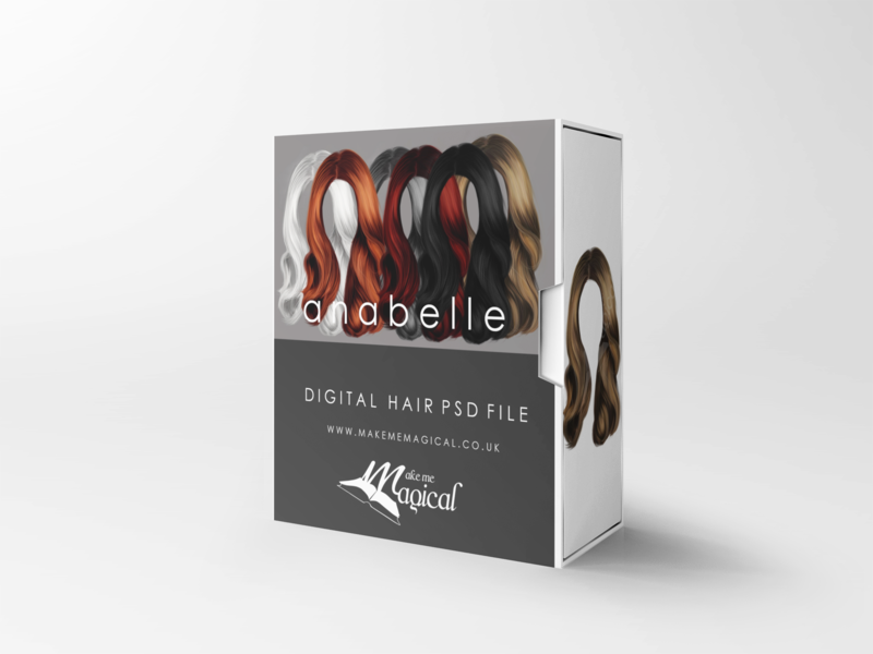 Annabelle digital painted photoshop instant hair overlay psd multiple colours by makememagical