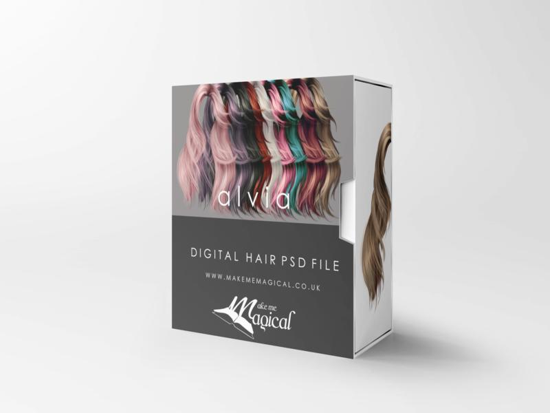 Alvia digital painted photoshop instant hair overlay psd multiple colours by makememagical