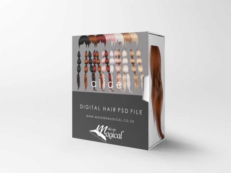 Alice digital painted photoshop instant hair overlay psd multiple colours by makememagical