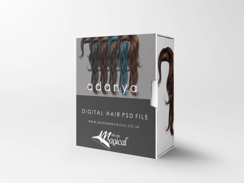 Adanya digital painted photoshop instant hair overlay psd multiple colours by makememagical