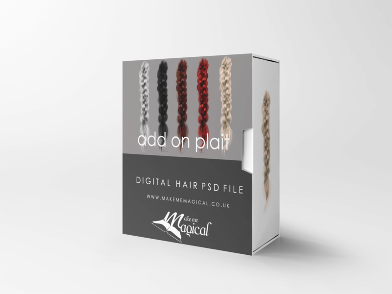 Add on Plait digital painted photoshop instant hair overlay psd multiple colours by makememagical