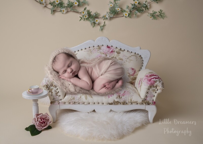 Newborn Digital Background - Flower couch with side table and tea cup