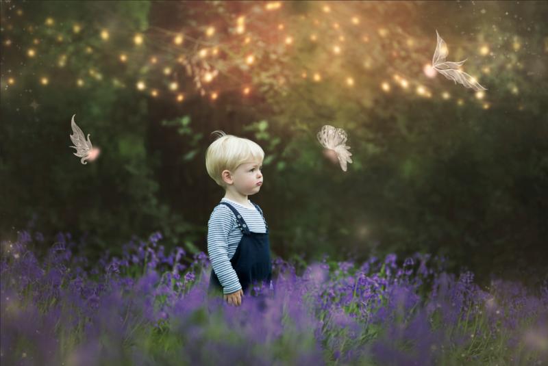 Spring bluebells digital backdrop - 2 files & PSD