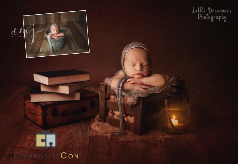 Vintage brown newborn digital backdrop pack, lanter,s books, tub backgrounds x 4