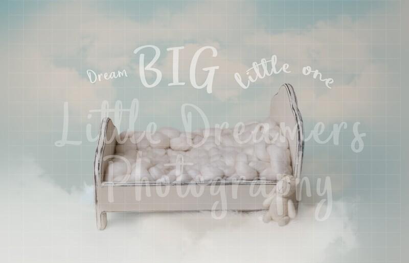 Newborn Digital background Dream big little one bed