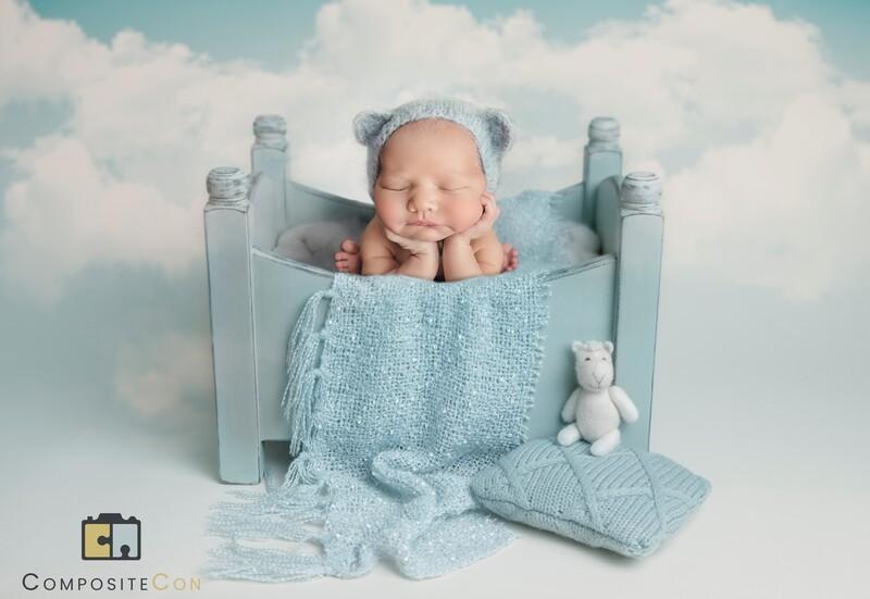 Newborn Digital background - blue clouds and blue bed