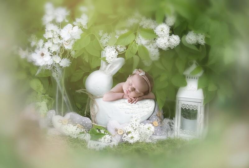 Newborn Digital Backdrop - garden outside green leafy Boho Baby Bunny