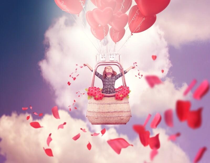 Digital Backdrop   Digital Background   Valentines Backdrop   Photo backdrop   Hearts   Roses   Petals   Hot air balloon   Photoshop file