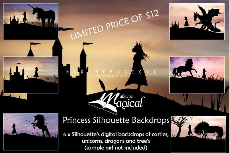 6 x Princess Silhouette Digital Backdrops, makememagical digital backdrops, dragon, castle, unicorn, horse, sunset backgrounds, Jpegs