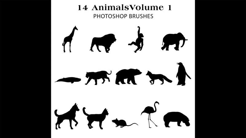Photoshop Brushes - 14 Animal silhouette Brushes Volume 1 , giraffe, lion, flamingo, bear, elephant, monkey and more.