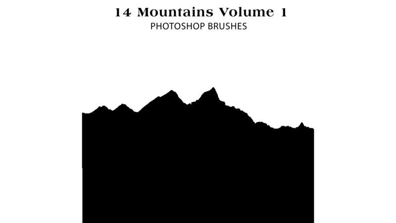 Photoshop Brushes - 14 Mountain Silhouette Brushes Volume 1 , mountains, cliffs, terrain, rocks