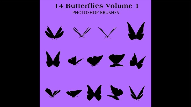 Photoshop Brushes - 14 Butterfly Silhouette Brushes Volume 1