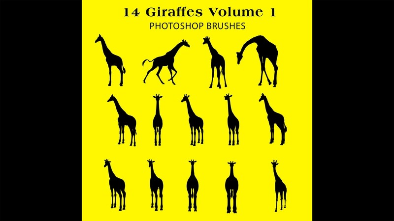 Photoshop Brushes - 14 Giraffe Silhouette Brushes Volume 1